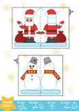 Education Christmas Paper Crafts, Snowman and Santa Claus. Education Christmas Paper Crafts for children, Snowman and Santa Claus. Use scissors and glue to royalty free illustration
