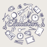 Education circle concept. Back to school elements of illustration flat icons background. Thin lines outline design. Infographics Royalty Free Stock Photos