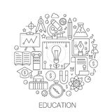 Education in circle - concept line illustration for cover, emblem, badge. School university education thin line stroke. Icons Royalty Free Stock Image