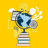 Education Collage With Globe on Books, Science And School Symbols Royalty Free Stock Photos