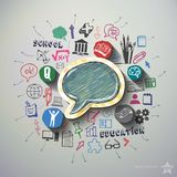 Education collage with icons background Stock Photography