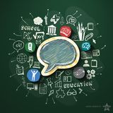 Education collage with icons on blackboard Stock Photo