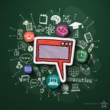 Education collage with icons on blackboard. Vector illustration Stock Images