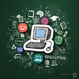 Education collage with icons on blackboard. Vector illustration Stock Photos