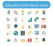 Education Color Vector Icon Pack. These are trendy Education color  icons that can be used in every project related education, web, blogs etc, this pack consist Royalty Free Stock Image