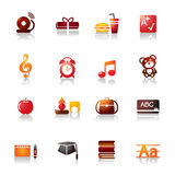Education Colorful Icons. A collection of different kinds of education colorful icons. It contains hi-res JPG, PDF and Illustrator 9 files Vector Illustration