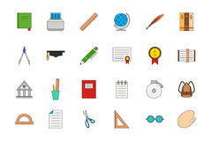 Education colorful icons set. Set of 24 Education colorful icons Stock Photography