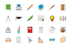 Education colorful  icons set. Set of 24 Education colorful  icons Royalty Free Stock Image