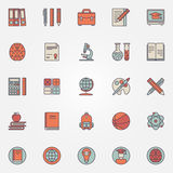 Education colorful icons Royalty Free Stock Photos