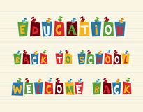 Education colorful pushpin post notes composition. Royalty Free Stock Photos