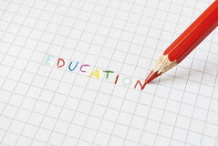 Education coloured. Education writing made with multicolour pencils in elementary school style Royalty Free Stock Images