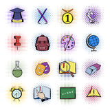 Education comics icons Stock Photos