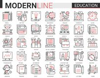 Free Education Complex Concept Thin Red Black Line Icon Vector Set With Outline Infographic School, Laboratory Or University Royalty Free Stock Photography - 200051607
