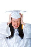 Education concept. Student tired from too much stydying Stock Photo