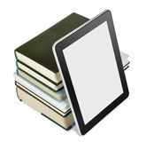 Education concept. A tablet pc with books isolated on white. Education concept Stock Photography