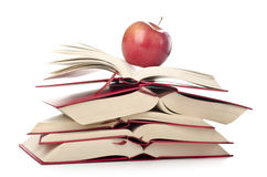 Education concept. Stack of books with apples; back to school or university or college; learning; education Stock Photography