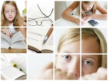 Education concept. Education thinks and reading child in many pictures collage Stock Photography