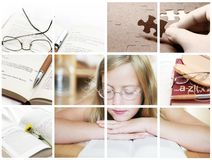 Education concept. Education thinks and reading child in many pictures collage Stock Photos