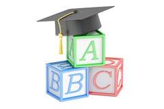Education concept, abc cubes with graduation cap. 3D rendering. Education concept, abc cubes with graduation cap Stock Photography