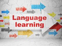 Education concept: arrow with Language Learning on grunge wall background. Education concept:  arrow with Language Learning on grunge textured concrete wall Stock Image