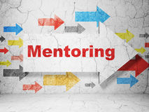 Education concept: arrow with Mentoring on grunge Royalty Free Stock Images