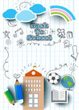Education concept, back to school banner,flat icon style. On paper, vector Illustration Stock Photo