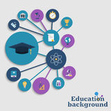 Education concept background. Icons education equipment, graduation and science. Abstract education background. Vector illustration Stock Photo