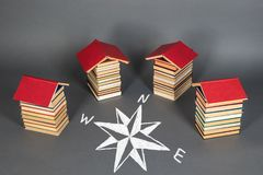 Education concept. Books as a basis for choosing prospects. Education unusual concept. Books as a basis for choosing prospects stock photography
