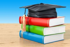 Education concept with books and graduation cap on the wooden ta. Ble, 3D Stock Image