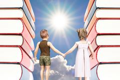 Education concept with books and kids. Boy and girl, hand in hand. walking to the shiny sun royalty free illustration