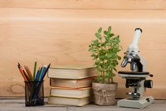 Education concept - books and microscope on the desk in the auditorium. Background, board, botany, class, classroom, college, copyspace, educate, educators stock image