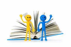 Education concept - books and smilie Stock Photo