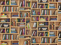 Education concept. Books and textbooks on the bookshelf. 3d Stock Photos