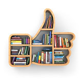Education concept. Bookshelf with books as like symbol. Royalty Free Stock Images