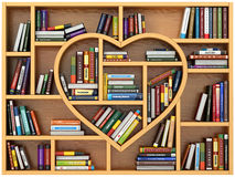Education concept. Bookshelf with books and textbooks in form of. Heart. I love reading. 3d Royalty Free Stock Photo