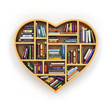 Education concept. Bookshelf with books and textbooks in form of. Heart. I love reading. 3d Stock Photo