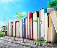 Education concept. Campus. Stack of books. As buildings on a street. Books avenue. 3d illustration Stock Illustration