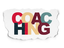 Education concept: Coaching on Torn Paper Stock Images