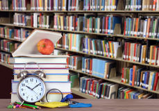 Education concept. Colorful books and bookshelf for education concept Royalty Free Stock Photos