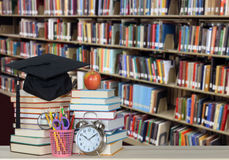 Education concept. Colorful books and bookshelf for education concept Stock Images