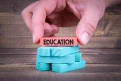 Education concept, With Colorful Wooden Blocks royalty free stock photo