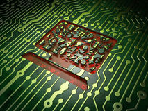 Education concept: Computer Pc on circuit board Royalty Free Stock Images