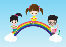 Education concept cute little kids boy and girl reading a book. On the rainbow vector illustration eps10 vector illustration