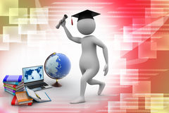 Education concept. 3d graduate man with books, laptop and globe Royalty Free Stock Photos