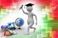 Education concept. 3d graduate man with books, laptop and globe Stock Photo