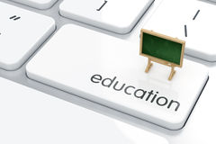 Education concept. 3d render of blackboard on the computer keyboard. Education concept Royalty Free Stock Image