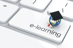 Education concept. 3d render of graduation cap with Earth icon on the keyboard. Education concept Stock Photography