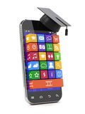 Education concept. 3d render of smartphone with graduation cap. Education concept Stock Image