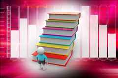 Education concept. 3d student and books, education concept Royalty Free Stock Images