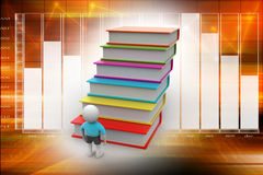 Education concept. 3d student and books, education concept Stock Photo